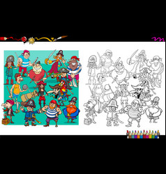 pirate characters group coloring book vector image vector image