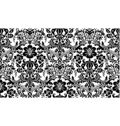 seamless damask pattern black and white image vector image vector image