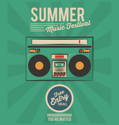 summer music festival stereo radio vintage vector image