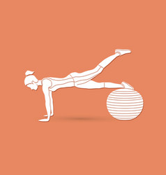 Woman exercising fitness swiss ball female with p vector