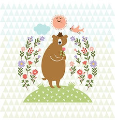 cute Bear with flowers vector image vector image