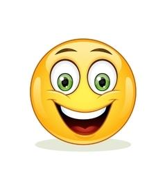 Emoticon with big toothy smile vector image vector image