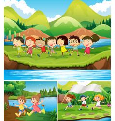 happy children playing in the park vector image vector image