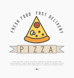 pizza slice logo with thin line icon for menu vector image vector image