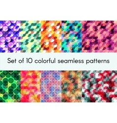 Set of 10 colorful seamless patterns vector image vector image