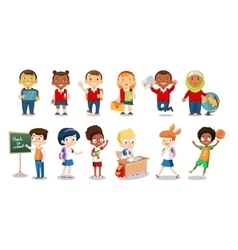 Set of cheerful school children flat icons vector image