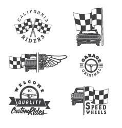 Set of vintage auto rides labels vector image