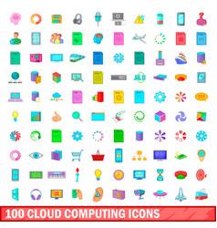 100 cloud computing icons set cartoon style vector image vector image