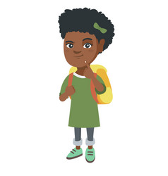 african little girl with school bag thinking vector image