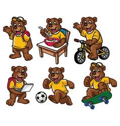 cartoon character set of cute little bear vector image vector image