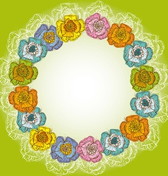 Design of vintage floral card orange blue yellow vector image vector image