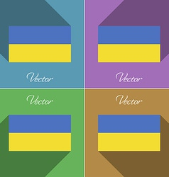 Flags Ukraine Set of colors flat design and long vector image