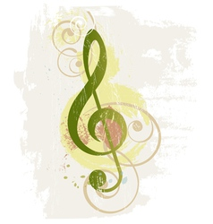 Grunge music background with treble clef vector image
