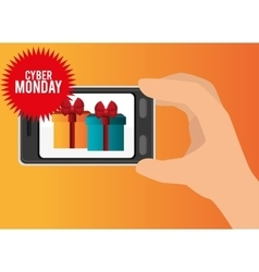 mobile phone discount gift cyber monday vector image