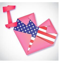 Origami paper I love USA heart card vector image vector image