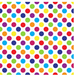 Seamless colorful polka dot pattern on white vector