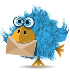 shaggy blue bird with envelope vector image vector image