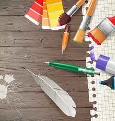 wooden background with writing tools vector image vector image