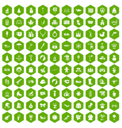 100 children icons hexagon green vector image vector image