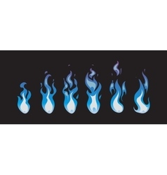 Blue fire animation sprites flames vector image