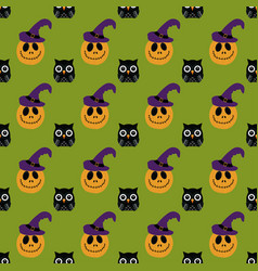 halloween pattern with owl and pumpkin vector image vector image