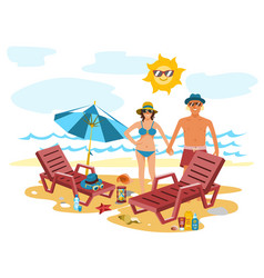 man and woman couple vacation summer time on the vector image
