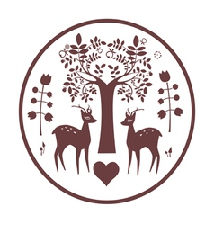 Round design with fantasy deer and tree vector image vector image