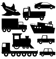 Set 1 of different transport silhouettes vector image