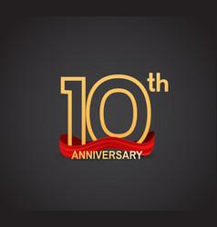 10 anniversary logotype design with line golden vector