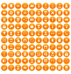 100 writer icons set orange vector