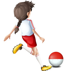 A soccer player with indonesian flag vector