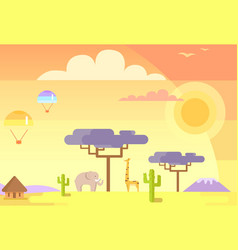 african landscape with animals and specific plants vector image