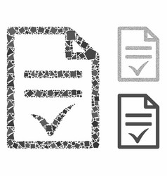 Agreement document mosaic icon bumpy elements vector
