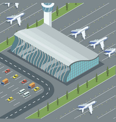 airport building with planes vector image