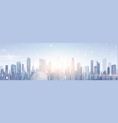 Beautiful winter city landscape skyscraper vector