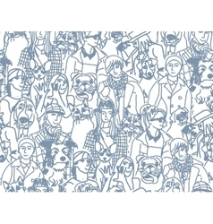 Big group people and pets gray seamless pattern vector image