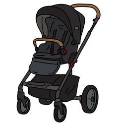 Black sport stroller vector