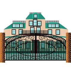 Brick mansion house vector
