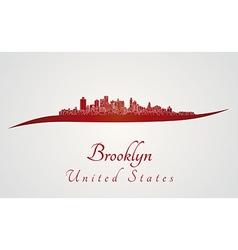 Brooklyn skyline in red vector