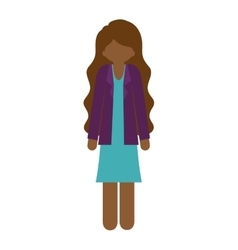 Brunette woman with jacket and wavy hair vector
