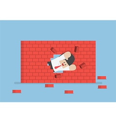 Businessman breaking through the wall vector