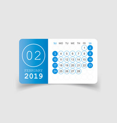Calendar february 2019 year in paper sticker with vector