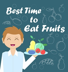 Card with the waiter and fruits for your design vector image