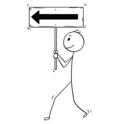 Cartoon motivated businessman walking forward vector