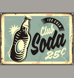 Club soda promotional retro tin sign vector