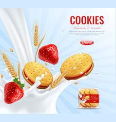 Cookies realistic advertising composition vector