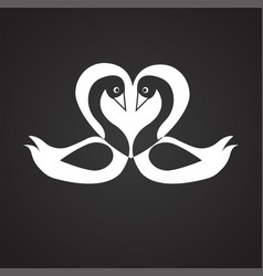 couple of swans in love on black background vector image