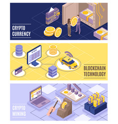 Cryptocurrency isometric banners set vector