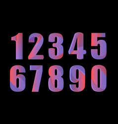 Cute 3d colorful numbers set on black background vector