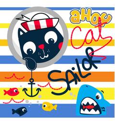 Cute cartoon cat sailor in sea vector